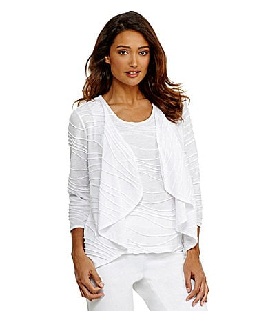 Investments Wave-Textured Cascade Cardigan & Shell