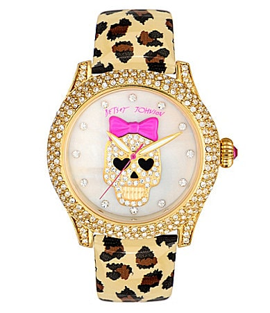 Betsey Johnson Leopard and Skull Patent Watch