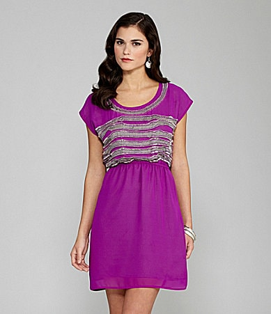 Gianni Bini Ariana Beaded-Trim Dress