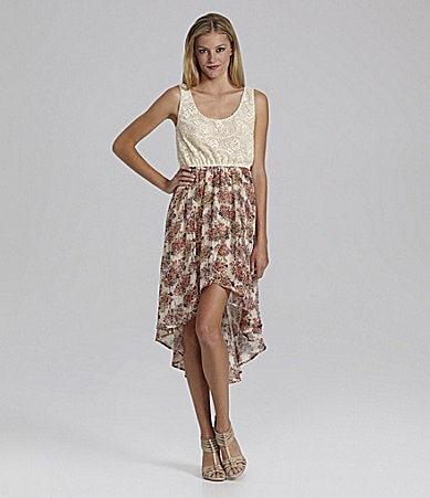 GB Lace And Floral Printed Dress