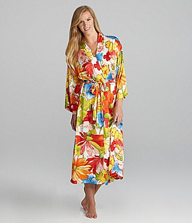 N by Natori Abitha Floral Print Long Gown & Robe