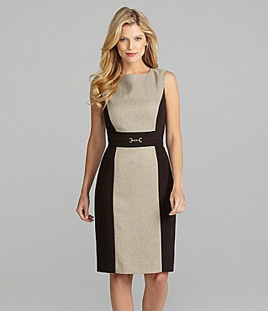 Preston & York Cecile Herringbone Colorblock Sheath Dress