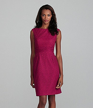 Adrianna Papell Boatneck Lace Dress