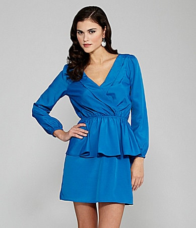 Gianni Bini Liam Long-Sleeve Peplum Dress