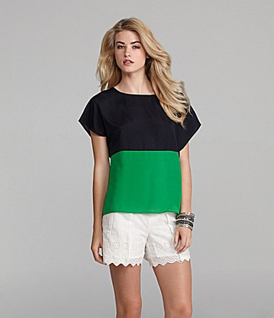 Cremieux Kadisha Colorblock Blouse & Grace Eyelet Shorts