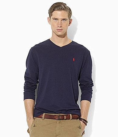 Polo Ralph Lauren Medium-Fit Long-Sleeve Cotton Jersey V-Neck T-Shirt