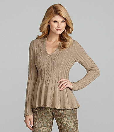 Antonio Melani Addie Cable-Knit Peplum Sweater
