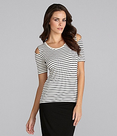 Vince Camuto Cold-Shoulder Stripe Tee