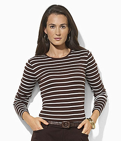 Lauren Ralph Lauren Long-Sleeved Striped Logo Tee