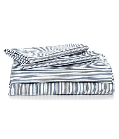 Cremieux 270-Thread-Count Percale Striped Sheet Set