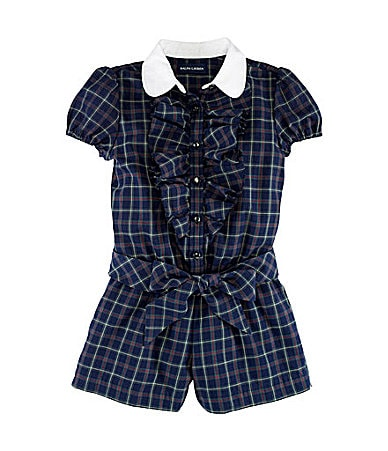 Ralph Lauren Childrenswear 2T-6X Plaid Romper With Puff Sleeves