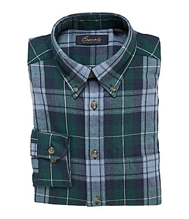 Roundtree & Yorke Casuals Long-Sleeve Plaid Sportshirt