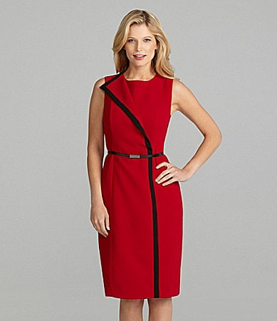 Preston & York Alice Belted Crepe Sheath Dress