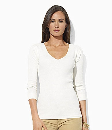 Lauren Jeans Co. Ribbed Cotton V-Neck Top
