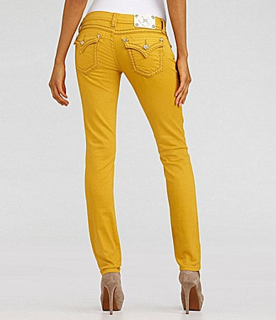 Miss Me Jeans Heavy-Stitch Colored Skinny Jeans