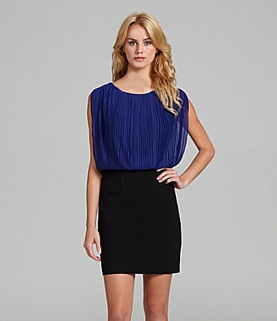 Aidan Aidan Mattox Cap-Sleeve Colorblock Dress