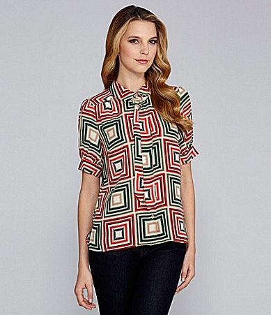 Vince Camuto Tie-Neck Patched Zigzag Blouse