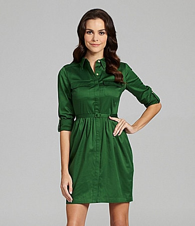 Vince Camuto Long-Sleeve Belted Shirtdress