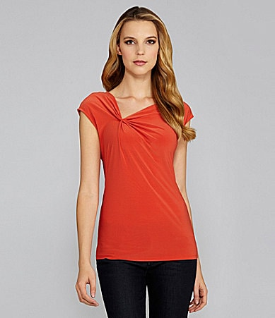 Vince Camuto Cap-Sleeve Asymmetric-Neck Top