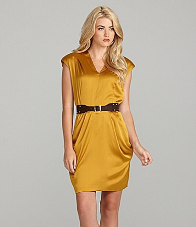 Cremieux Misha Cap-Sleeve V-Neck Belted Dress