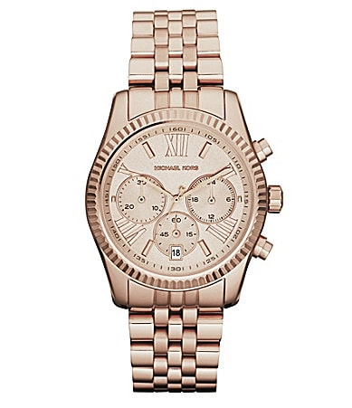 Michael Kors Ladies Lexington Rose Gold Round Watch