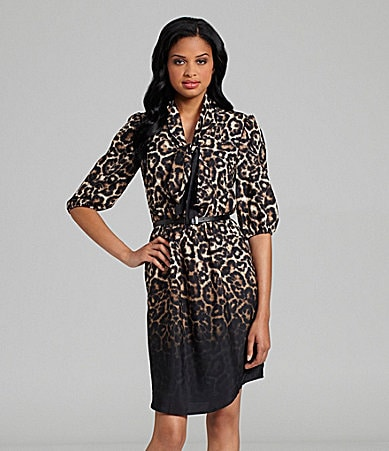 Vince Camuto Tie-Neck Leopard-Print Dress