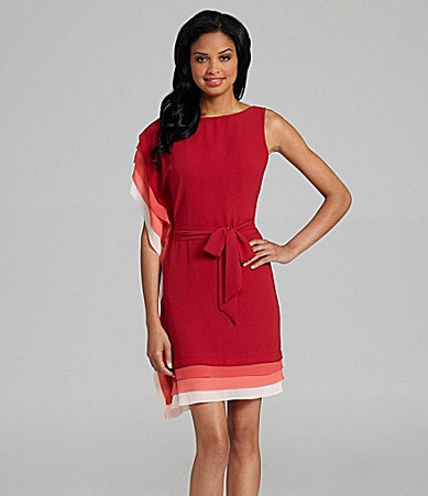 Vince Camuto Asymmetric Trimmed Dress