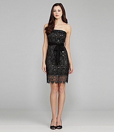 MM Couture by Miss Me Strapless Sequin Lace Dress