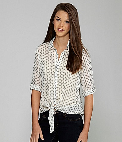 I.N. San Francisco Tie-Front Polka-Dot Top