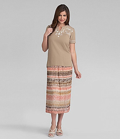 Samantha Grey Embroidered Yoke Knit Top & Ethnic Print Skirt