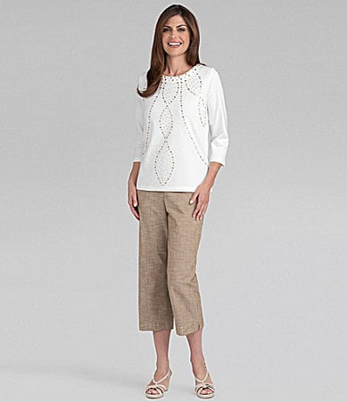 Samantha Grey Knit Top & Solid Embellished Capri Pants