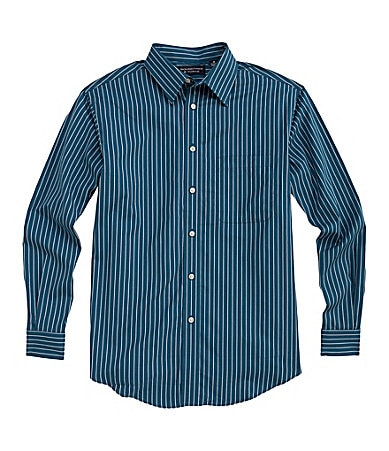 Roundtree & Yorke Big & Tall Silky Finish Striped Sportshirt