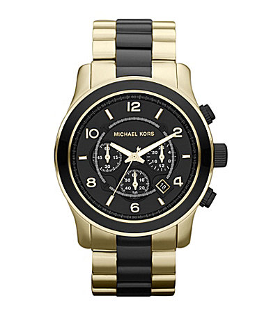 Michael Kors Mens Runway Goldtone & Black Watch