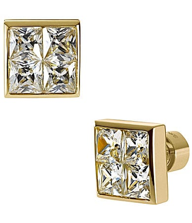 Michael Kors Gold Tone CZ Square Stud Earrings