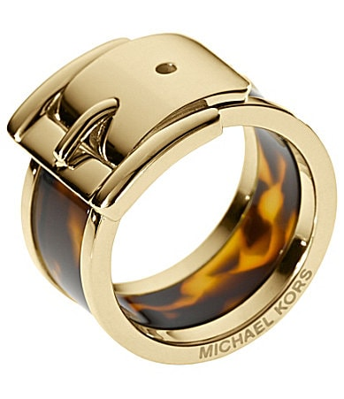 Michael Kors Goldtone & Tortoise Wide Buckle Ring