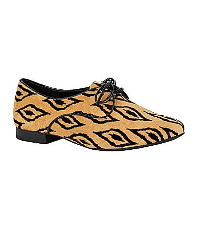BCBGeneration Lesleigh Tribal-Print Oxford Flats