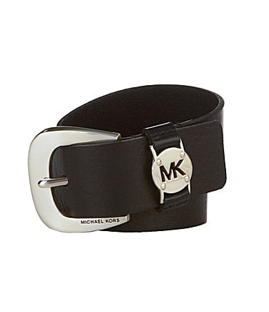 Michael Kors Leather MK Logo Keeper Belt