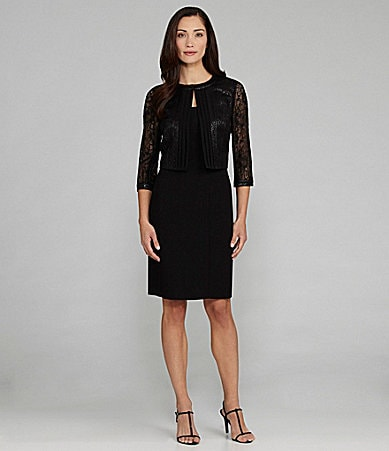 Tahari Metallic-Lace 2-Piece Jacket Dress