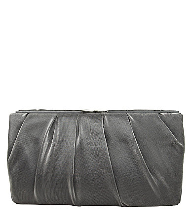 Nina Pleated Satin Metal-Frame Clutch