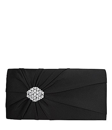 Nina Bridal Leatrice Rhinestone Satin Envelope Clutch