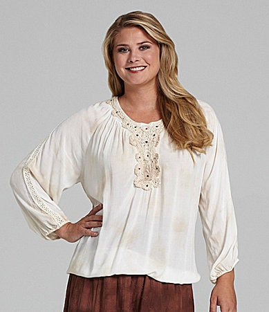 Reba Woman Bubble-Hem Peasant Blouse