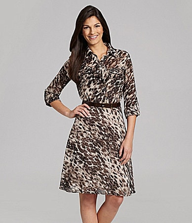 Alex Marie Petites Noa Animal-Print Chiffon Shirtdress