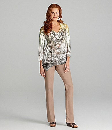 Reba Ivy Bouquet Sublimation Top & Pull-On Khaki Pants