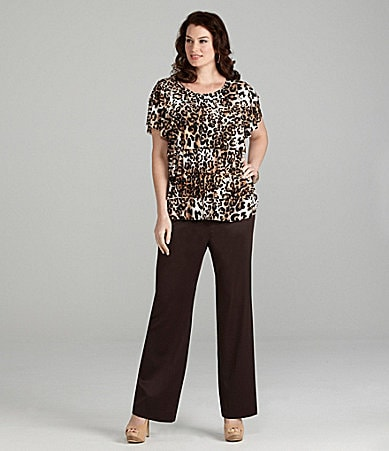 Alex Marie Woman Deena Animal Print Knit Top & Alexa Satin-Faced Pant