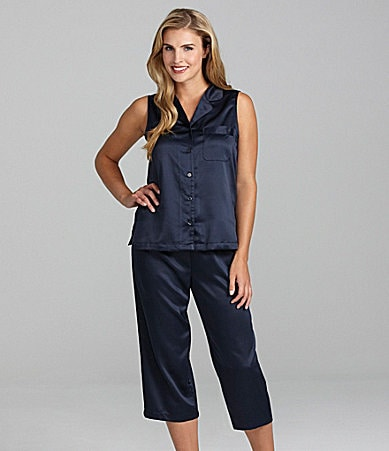 Cabernet Satin Sleeveless Cropped Pajamas