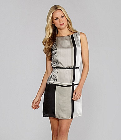 M.S.S.P. Belted Geometric-Print Sheath Dress