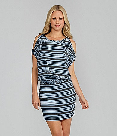 M.S.S.P. Cold-Shoulder Striped Jersey Dress