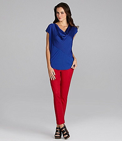 Vince Camuto Mixed-Media Top & Skinny Pants