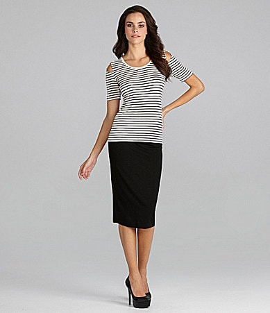 Vince Camuto Cold-Shoulder Stripe Tee & Midi Tube Skirt