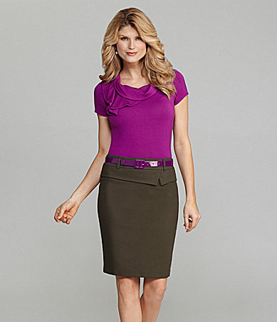 Antonio Melani Cap-Sleeve Asymmetric Top & Tina Peplum Skirt